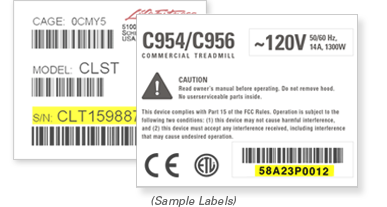 Fitness Equipment Serial Number Label Examples