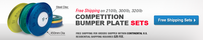 Free Shipping on Competition Bumper Plate Sets- 210lb, 300lb, 320lb. Shop Now!